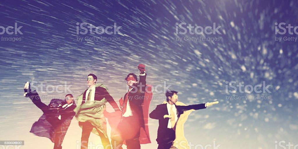 Business Superheros Winter Snow Rescue Concept stock photo