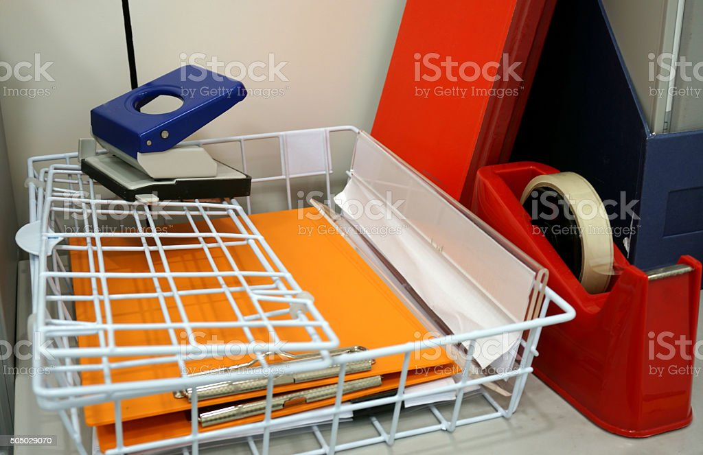 business supplies in the office stock photo