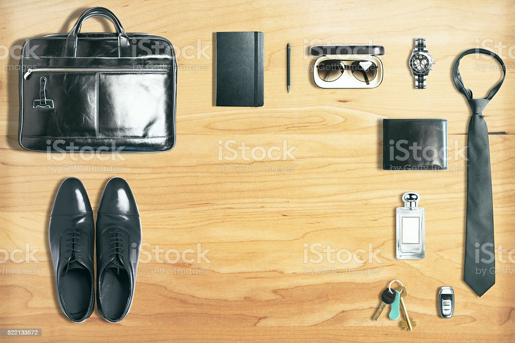 Business tackle on wood stock photo