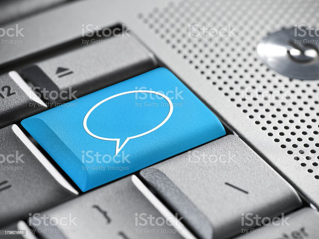 Business talk bubble on a laptop royalty-free stock photo