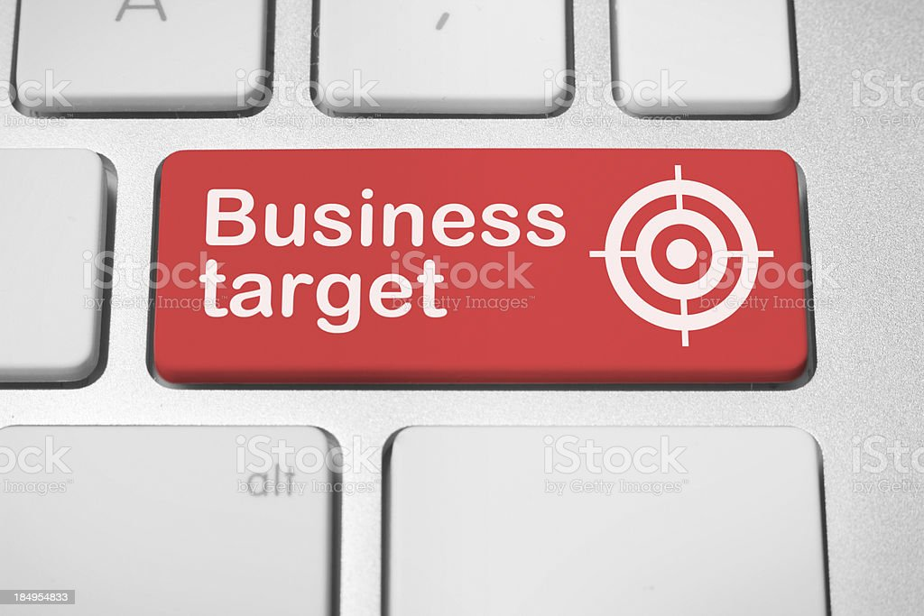 Business target button stock photo