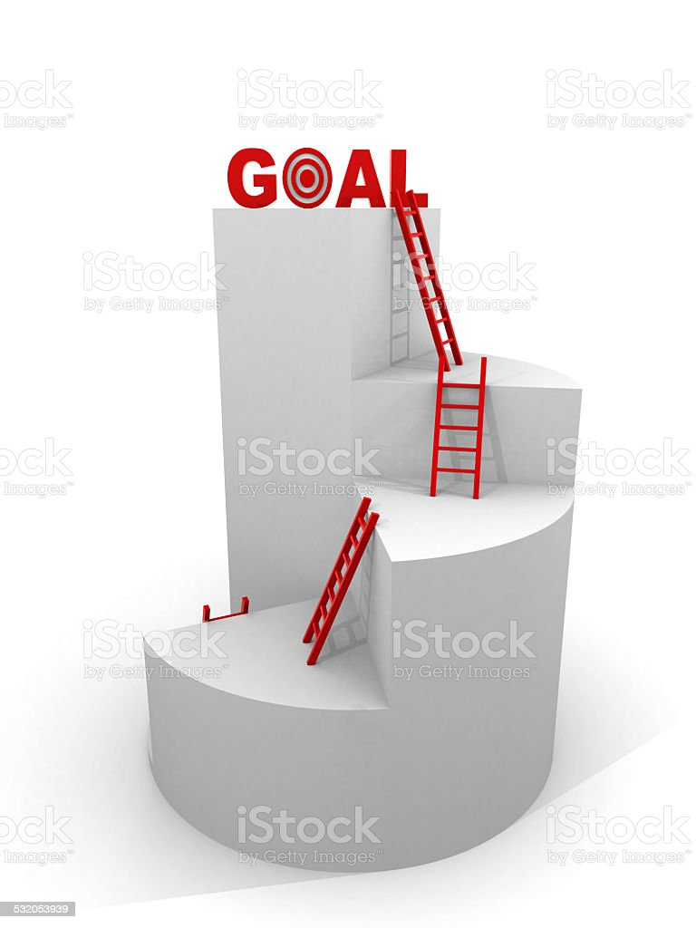 Business target concept , 3d business graph with wood ladder to stock photo