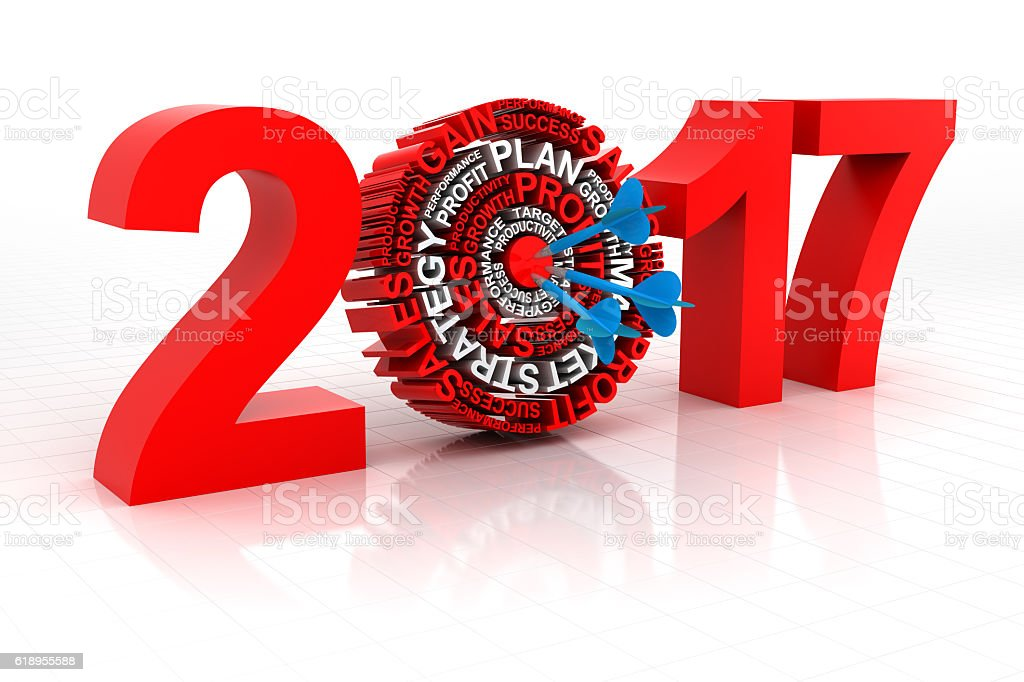 Business target for 2017, 3d render stock photo