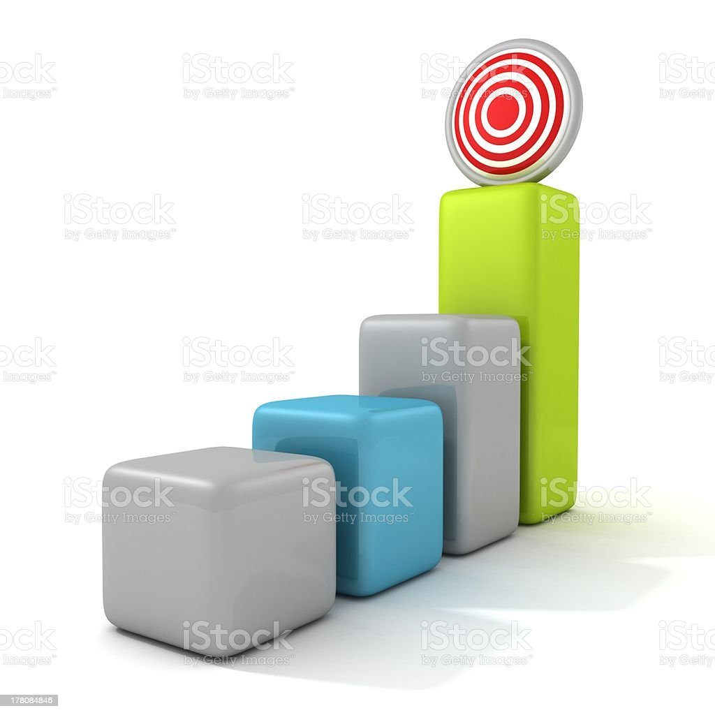 Business target marketing concept bar chart royalty-free stock photo