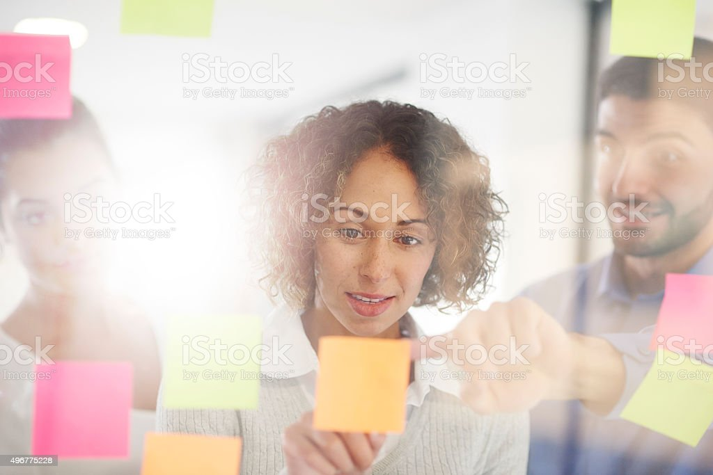 business team adhesive notes brainstorming stock photo