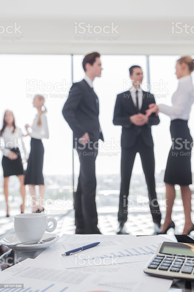 Business team and reports stock photo