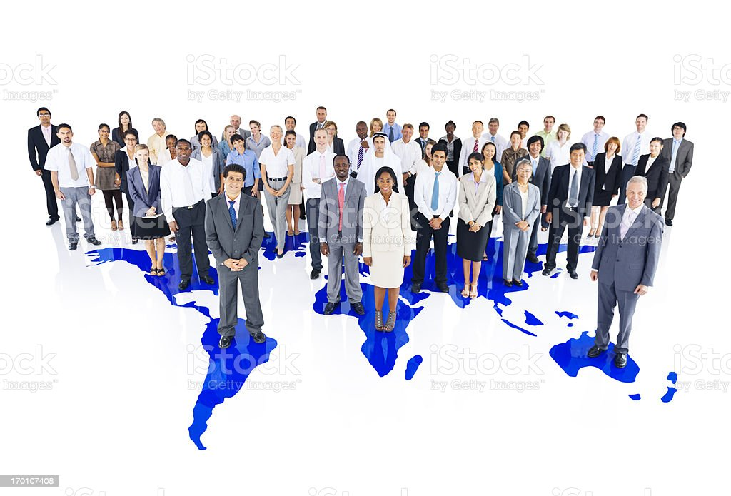 Business Team and world map royalty-free stock photo