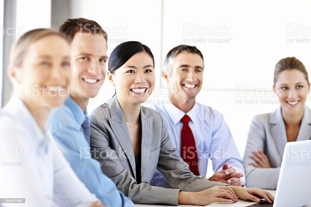 Business Team Around a Laptop royalty-free stock photo