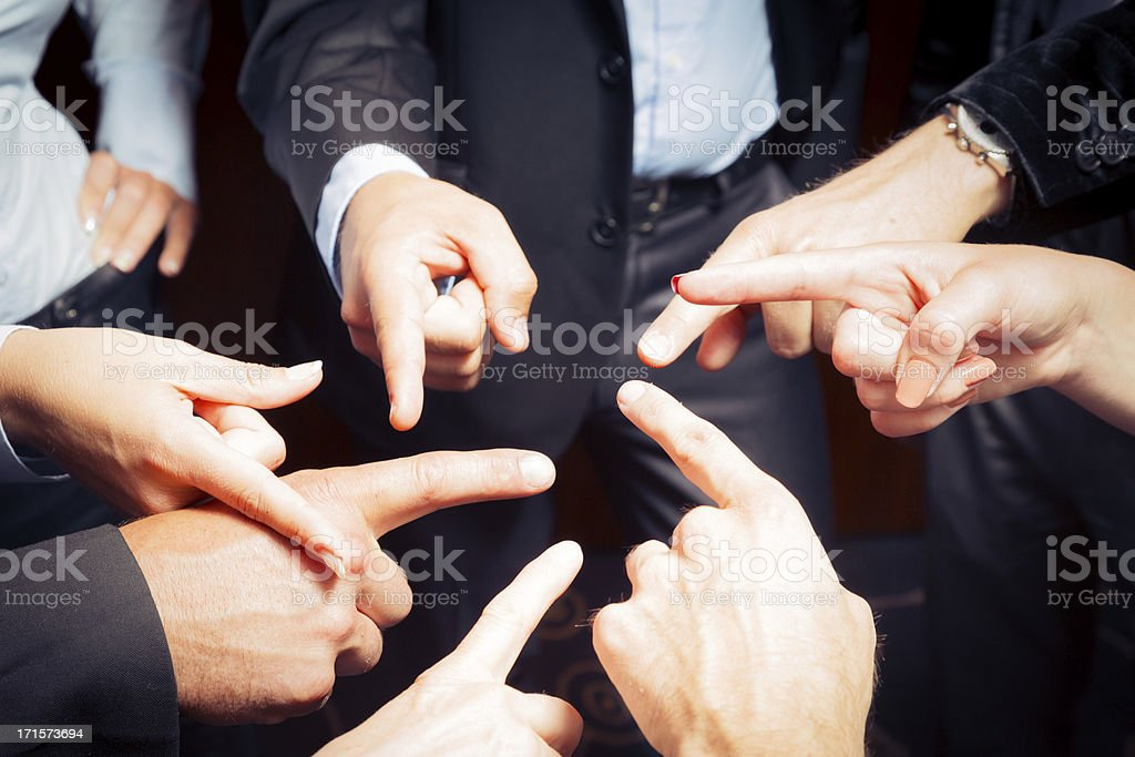 business team blaming each other stock photo