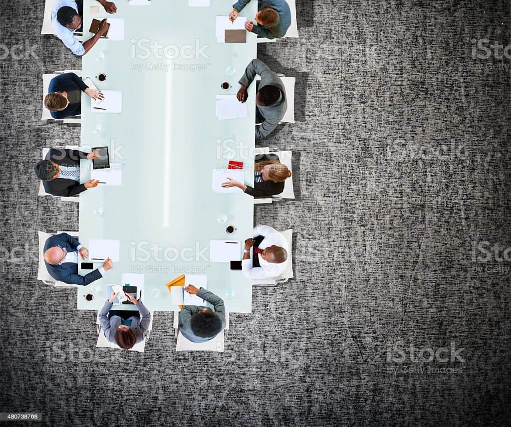 Business Team Board Room Meeting Discussion Strategy Concept stock photo
