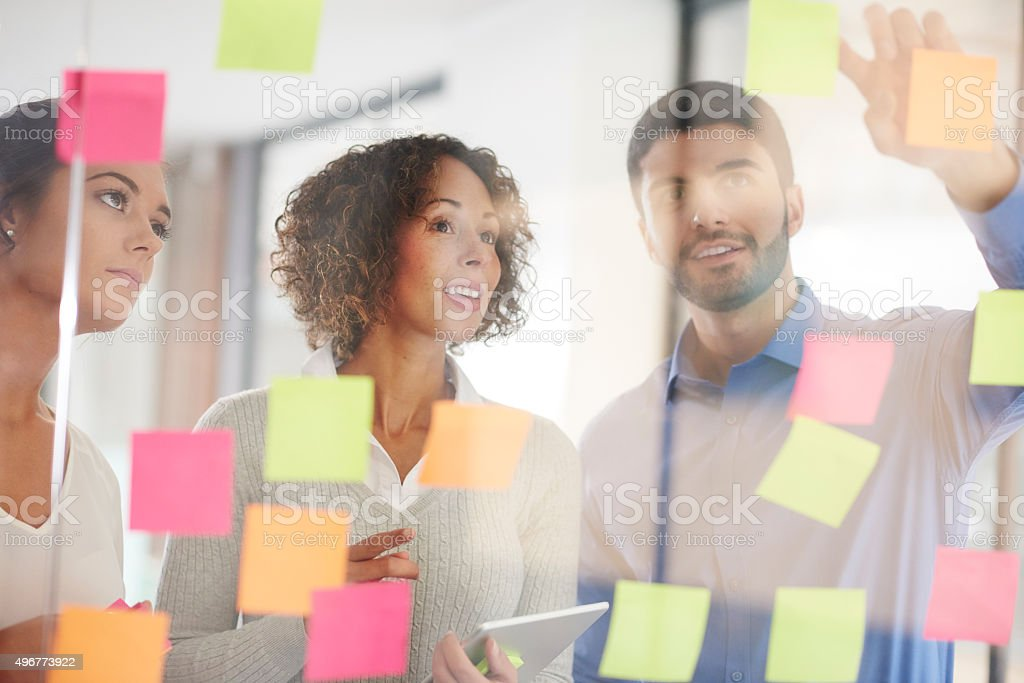 business team brainstorming stock photo