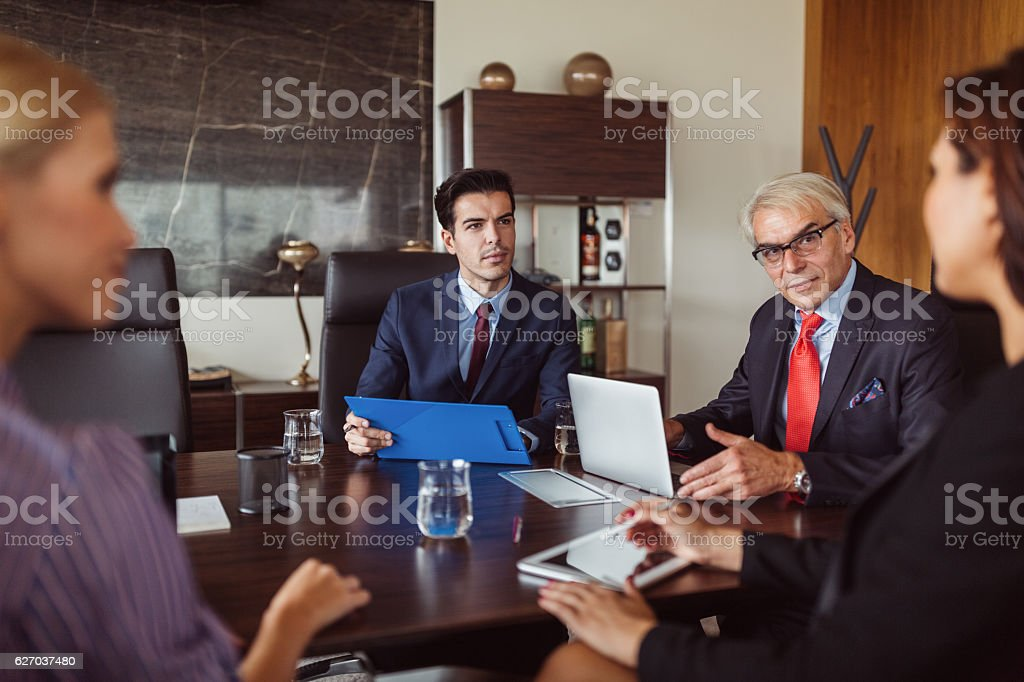 Business team briefing in the office stock photo