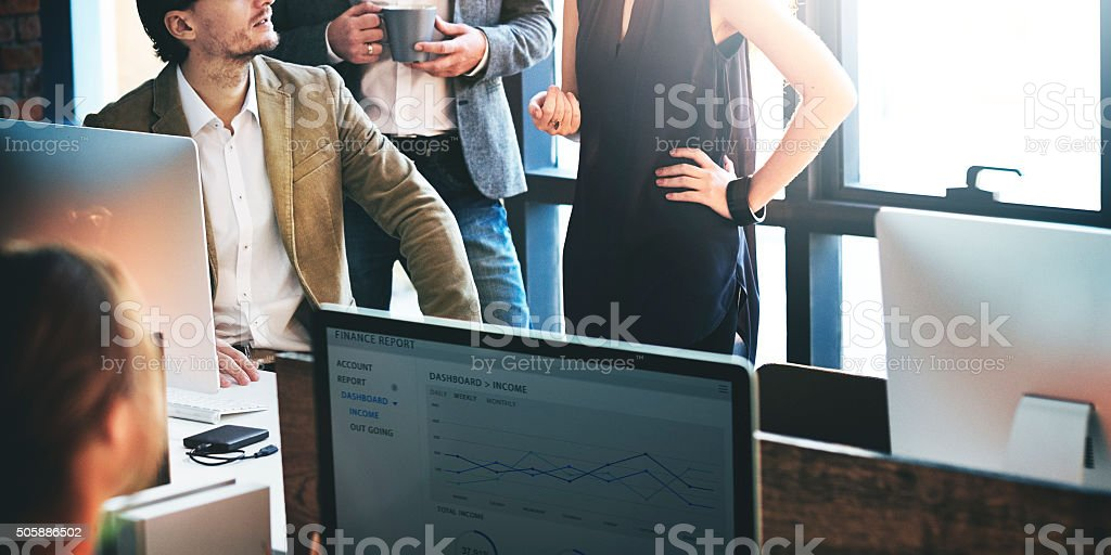 Business Team Busy Working Talking Concept stock photo