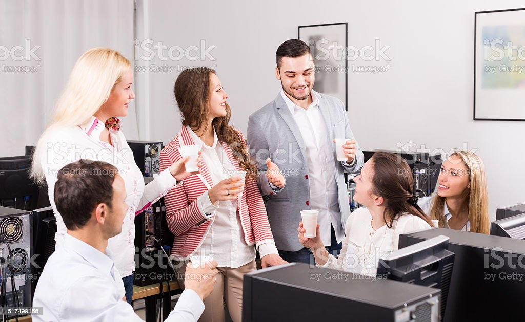 Business team celebrating project close-out stock photo