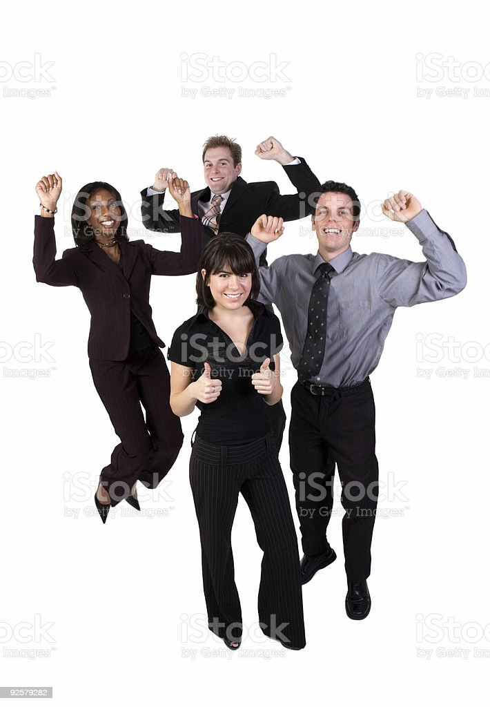 Business team cheering - female 2 royalty-free stock photo