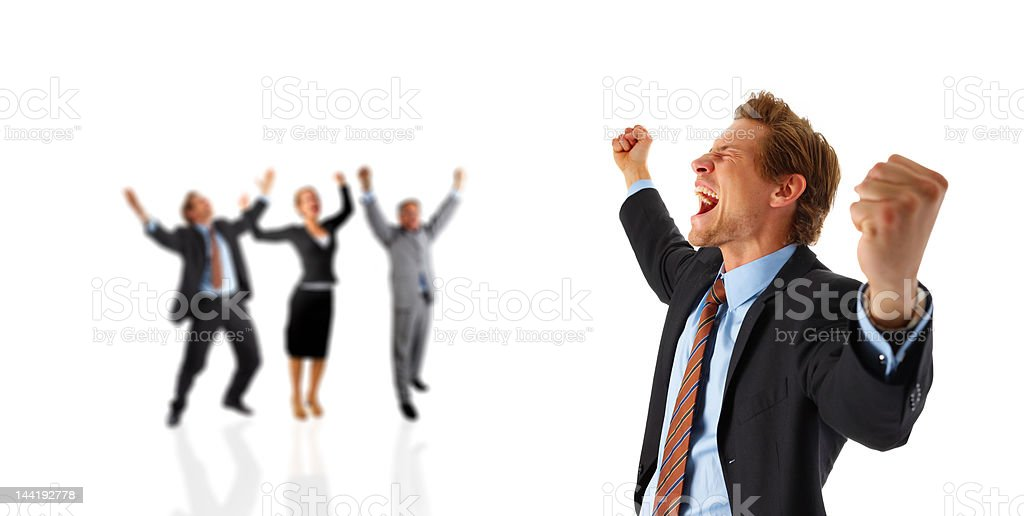 Business team cheering stock photo