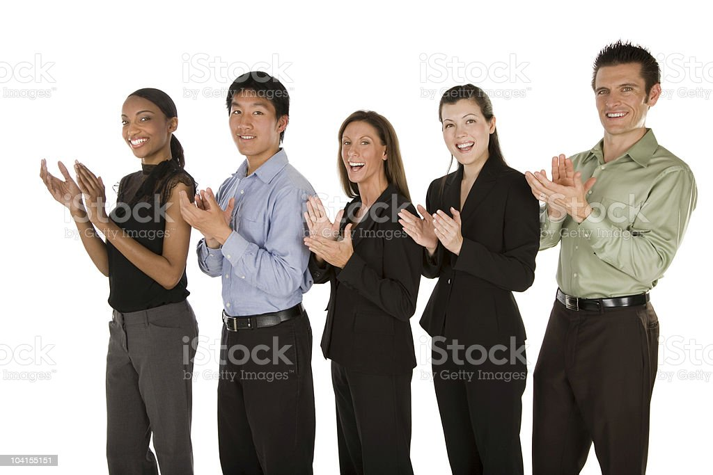 Business team clapping royalty-free stock photo