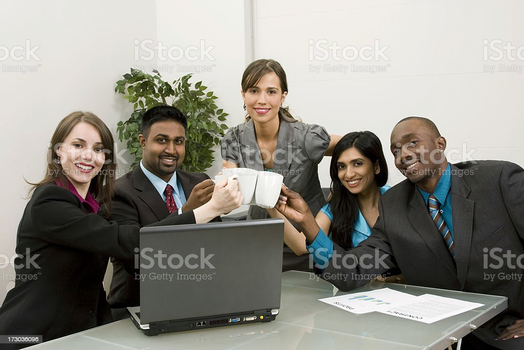 Business team coffee cheer royalty-free stock photo