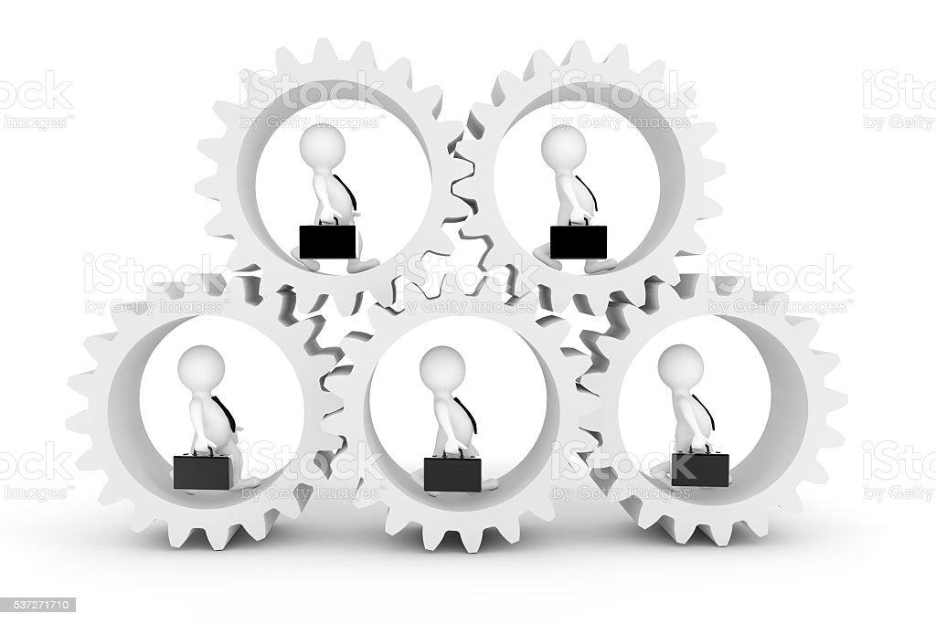 Business Team Concept. 3d Businesmans in Clogwheels. 3d Renderin stock photo