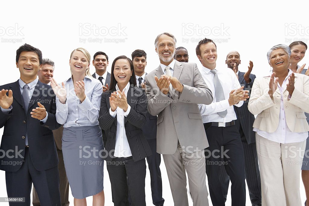 Business team congratulating royalty-free stock photo