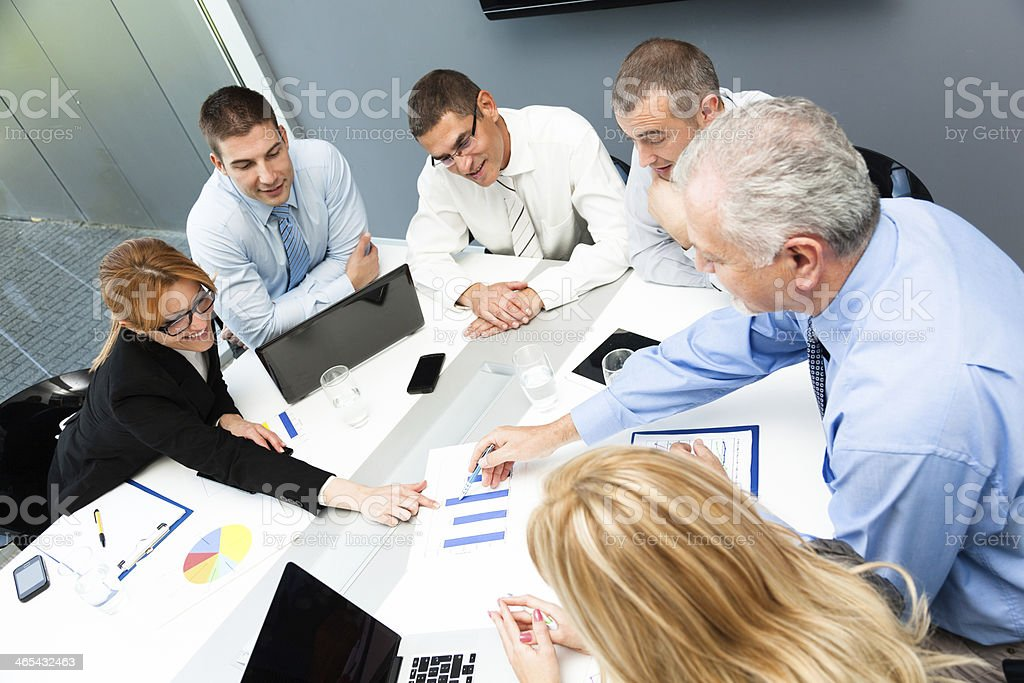 Business team discussing over future strategies in office royalty-free stock photo