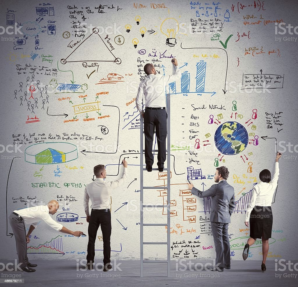 Business team drawing a new project stock photo