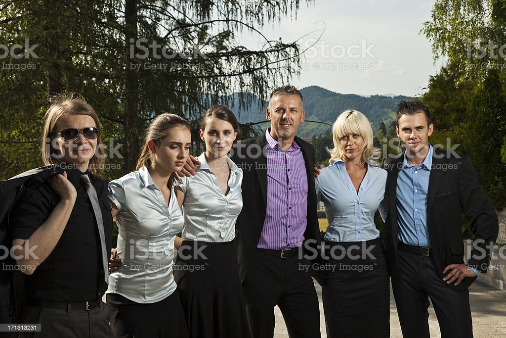 Business team embracing royalty-free stock photo