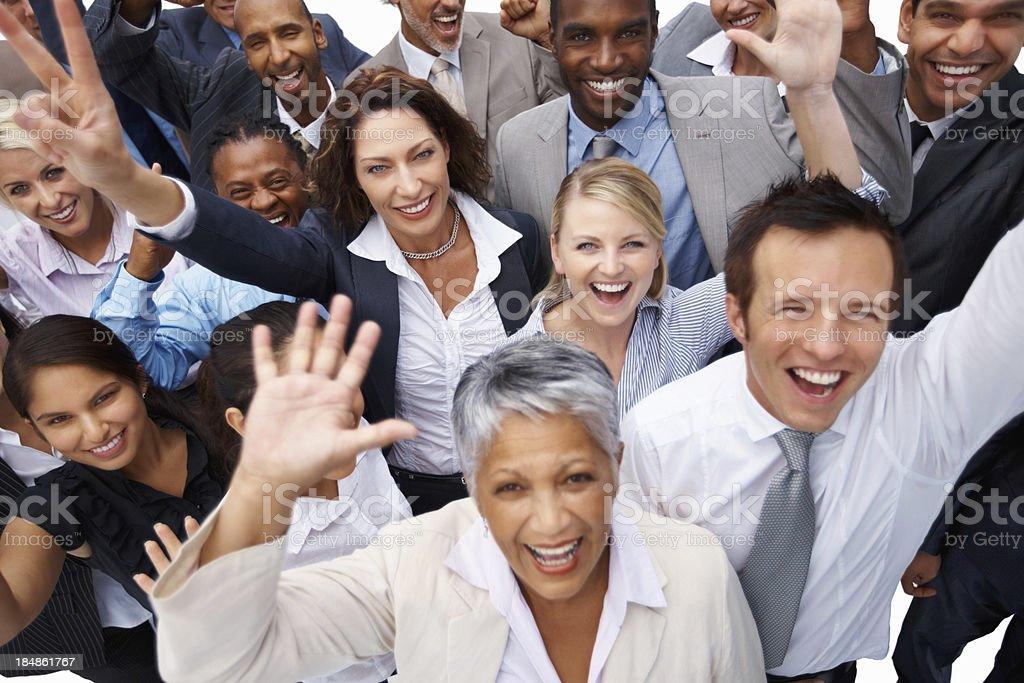 Business team enjoying success royalty-free stock photo