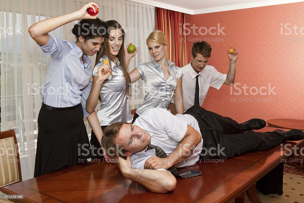 Business team fight royalty-free stock photo