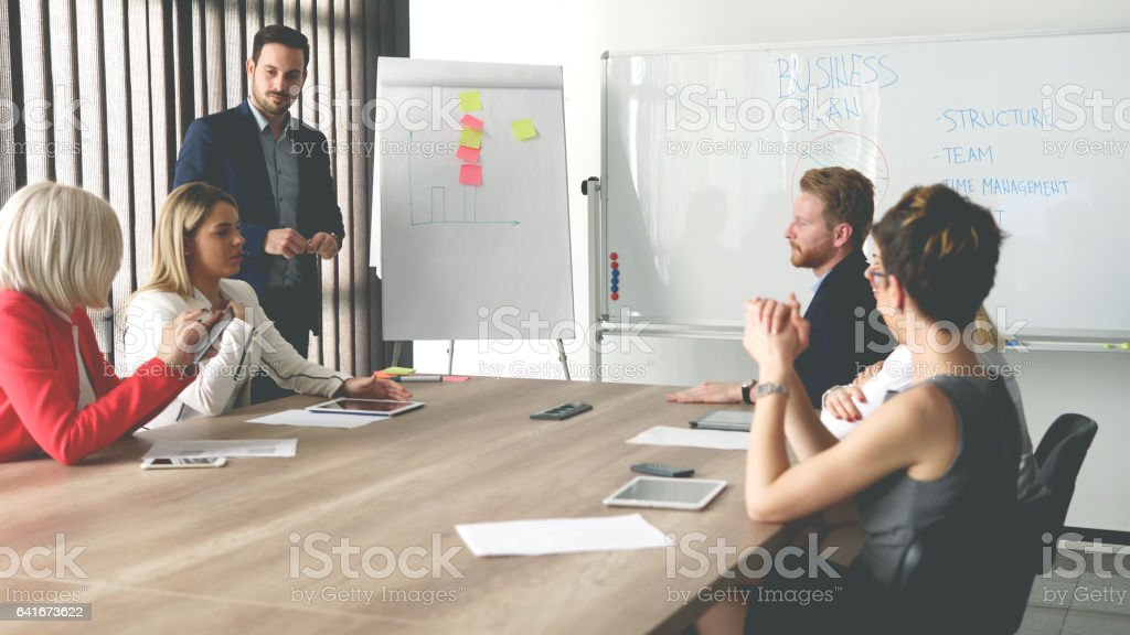 Business team have meeting about new idea stock photo