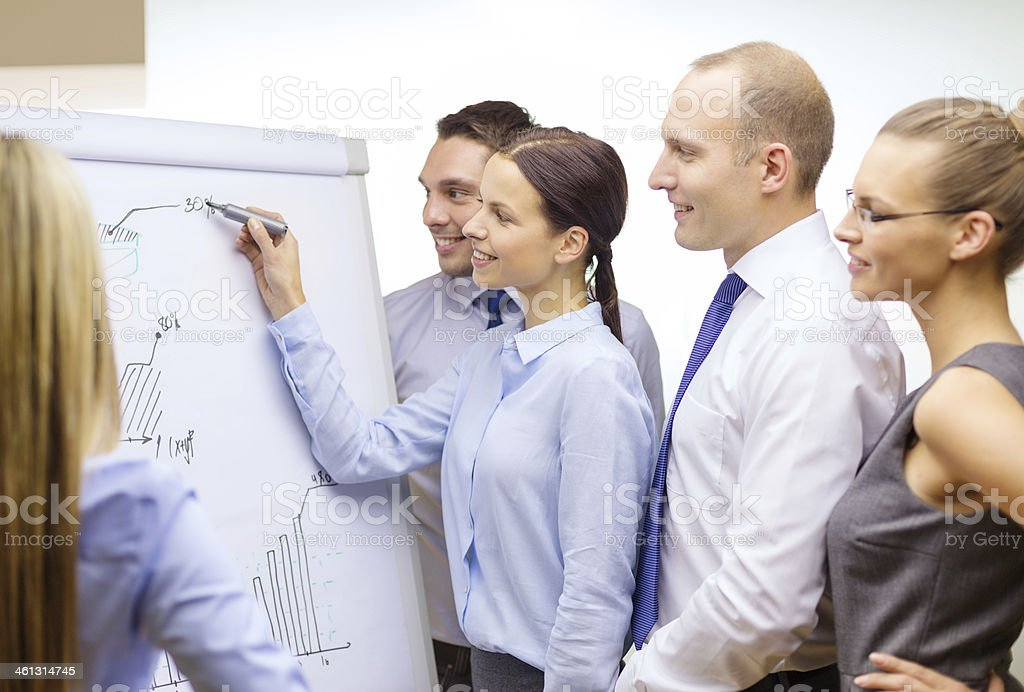 Business team having a discussion and using a flip board stock photo