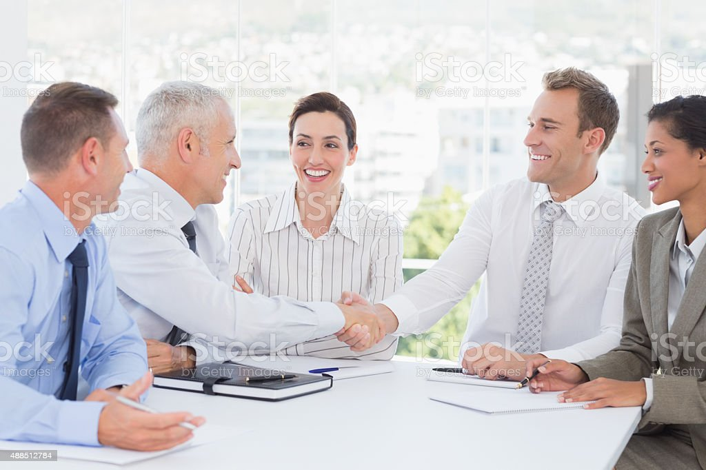 Business team having a meeting stock photo
