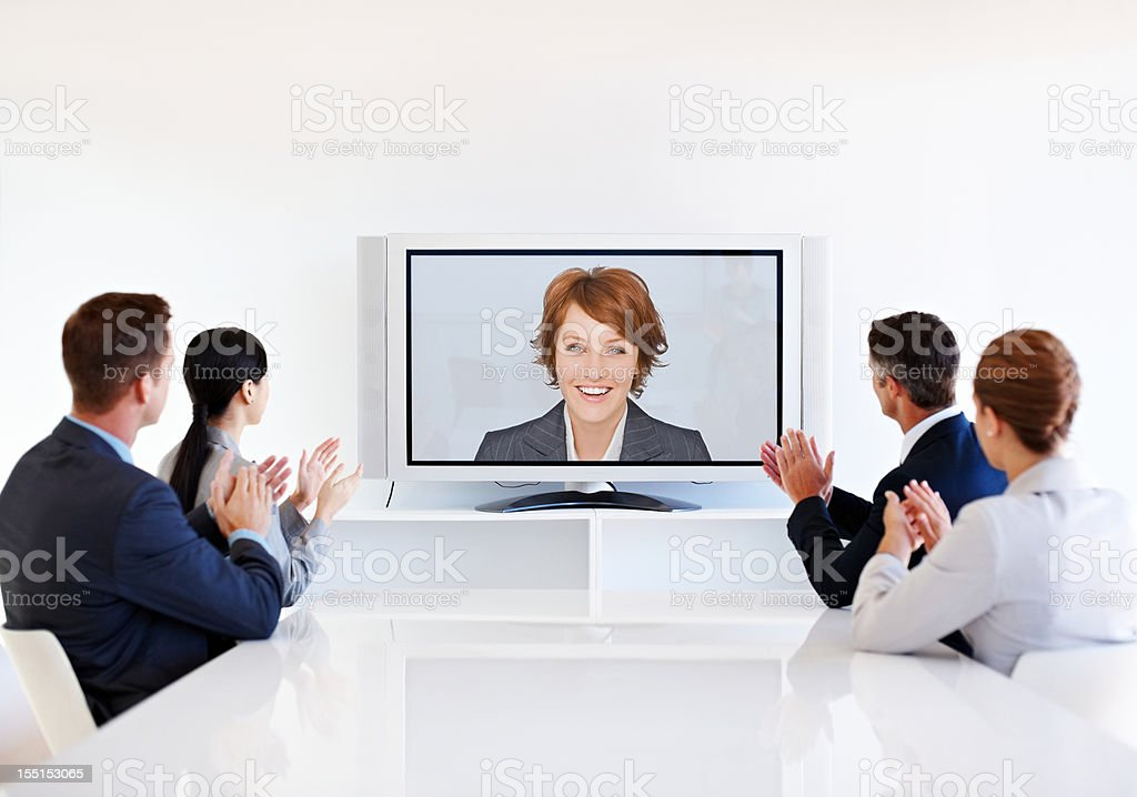 Business Team Having a Video Conference royalty-free stock photo