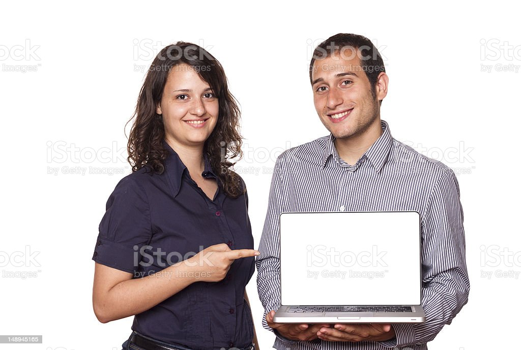 Business Team holding a Computer with Blank Screen royalty-free stock photo