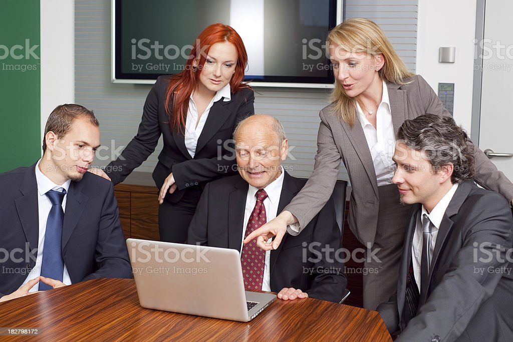 business team in vivid discussion royalty-free stock photo