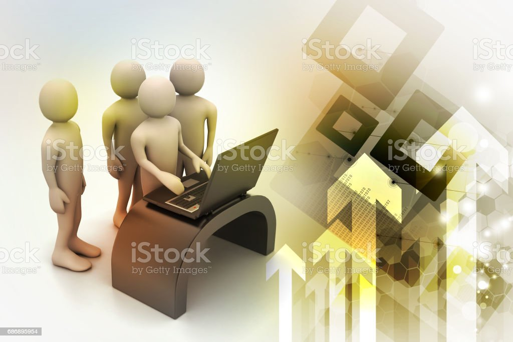 Business team looking at a Laptop stock photo