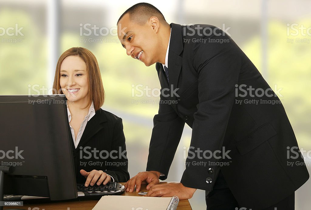 Business Team Looking At Compiter royalty-free stock photo