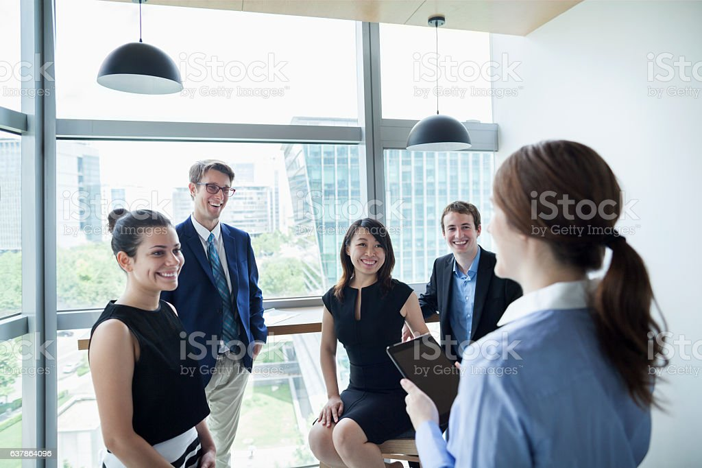 Business team meeting in office stock photo