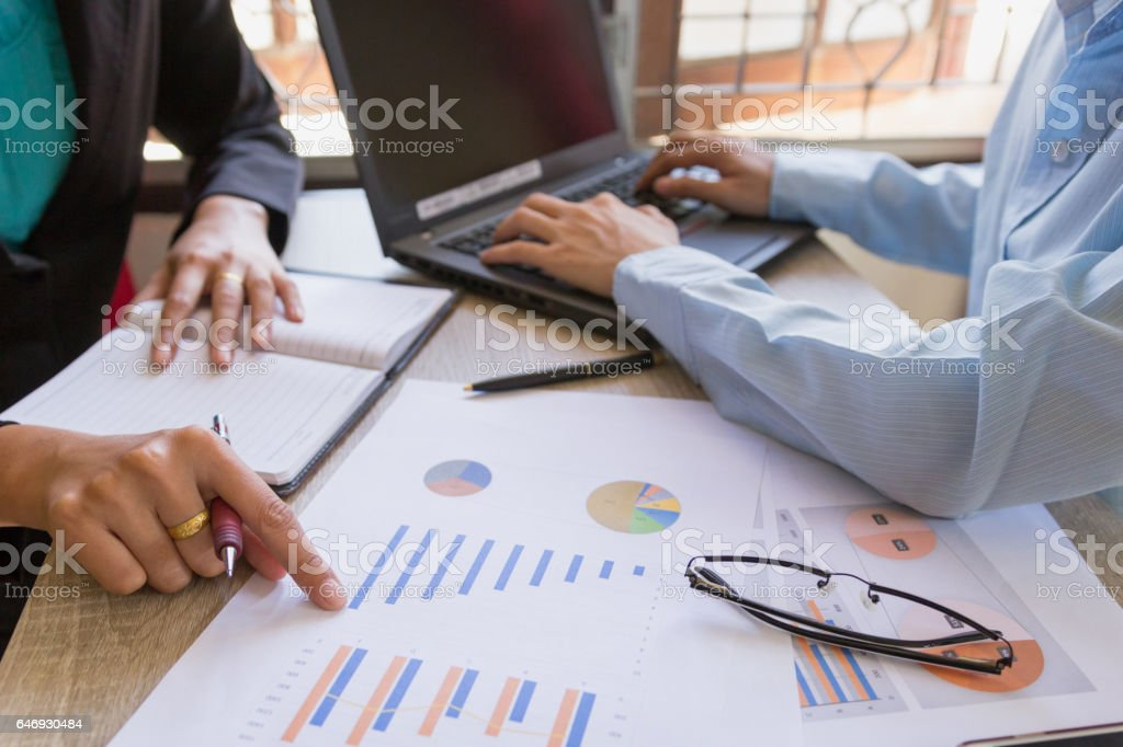 Business team meeting present professional investor working with project. stock photo