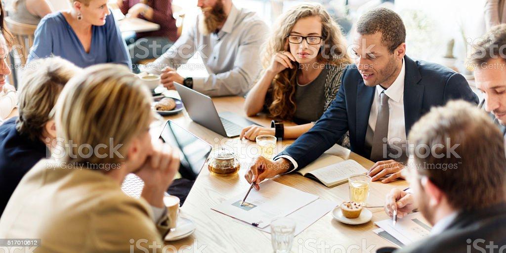 Negócios Equipe reunião de café conceito de estratégia de De marketing - fotografia de stock