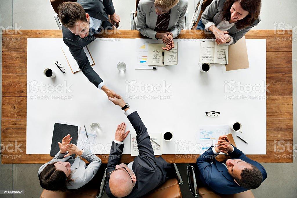 Business Team Meetng Handshake Applaud Concept stock photo