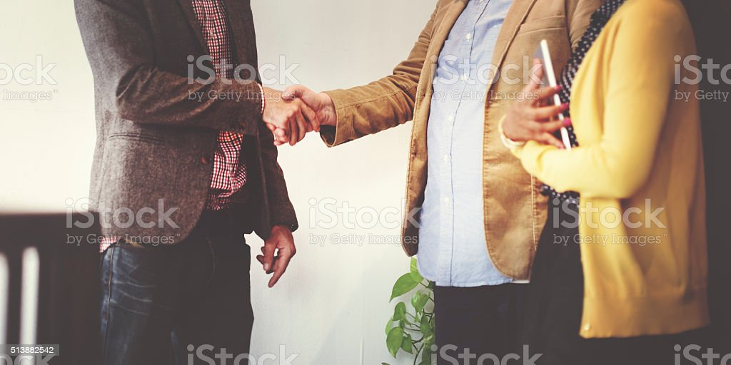 Business Team Partnership Greeting Handshake Concept stock photo