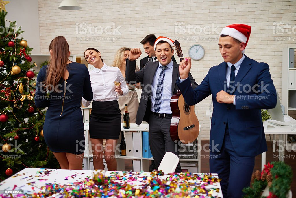 Business team partying hard stock photo