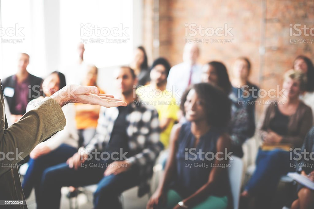 Business Team Seminar Listening Meeting Concept stock photo