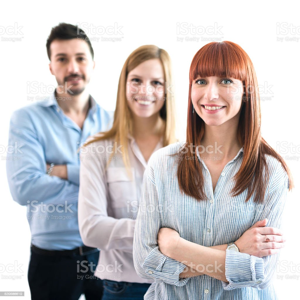 Business team standing togetherness  with arm crossed stock photo