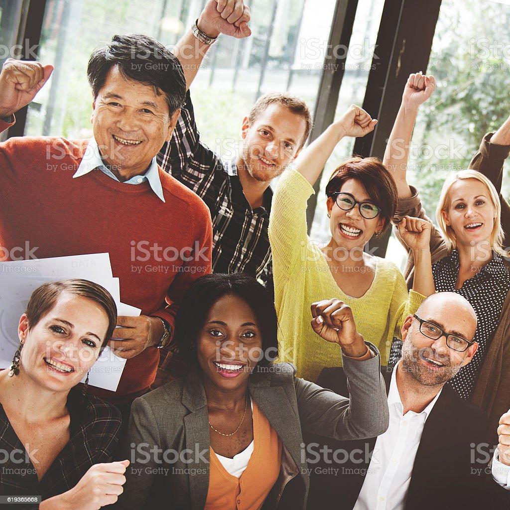 Business Team Success Achievement Arm Raised Concept stock photo