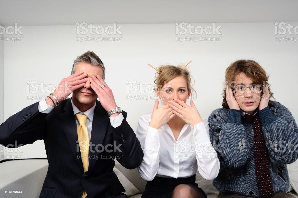 Business team - three monkeys stock photo