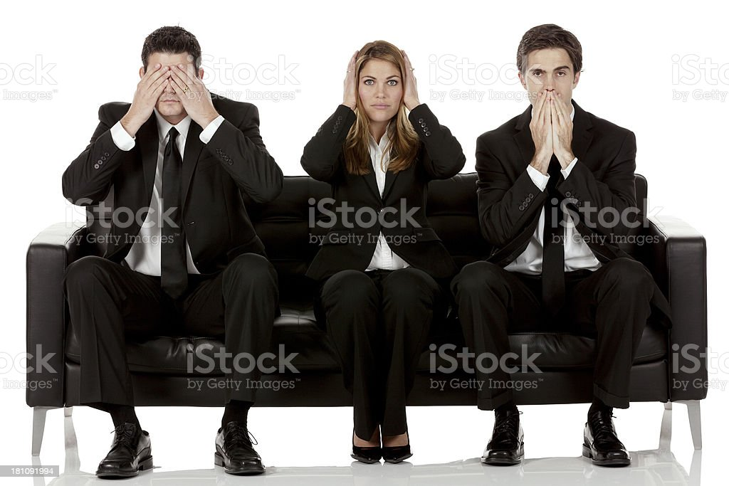 Business team - three wise monkeys stock photo