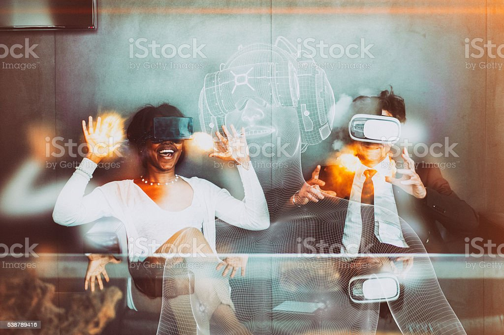 Business team using virtual reality headset in the office stock photo