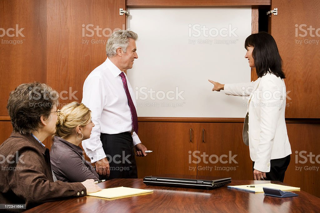 Business Team Whiteboard Discussion royalty-free stock photo